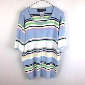 Pretty Easter Spring Pastel Striped Sweater 2X